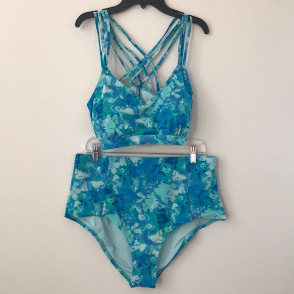 Forever 21 Swim F21 Blue Tie Dye 2piece High Waisted Suit Poshmark